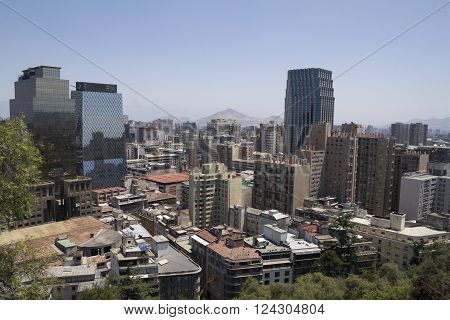 Santiago De Chile, Chile - November 16, 2015: Santiago De Chile High View From Cerro Santa Lucia