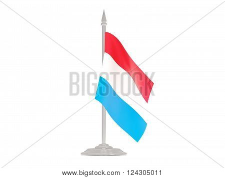 Flag Of Luxembourg With Flagpole. 3D Render