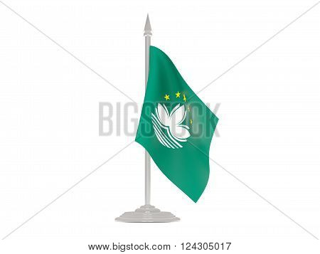 Flag Of Macao With Flagpole. 3D Render