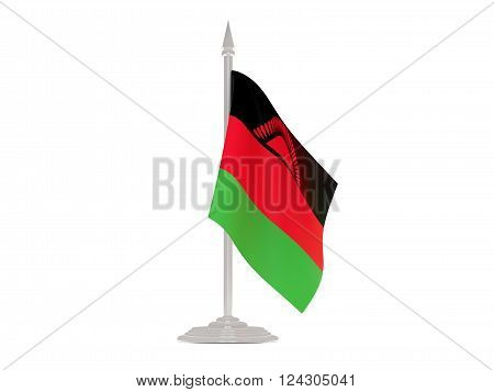 Flag Of Malawi With Flagpole. 3D Render