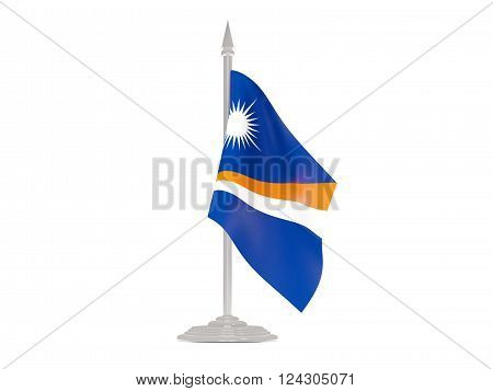 Flag Of Marshall Islands With Flagpole. 3D Render
