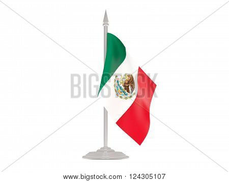 Flag Of Mexico With Flagpole. 3D Render