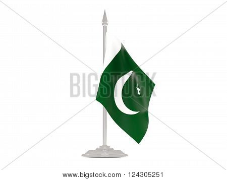 Flag Of Pakistan With Flagpole. 3D Render
