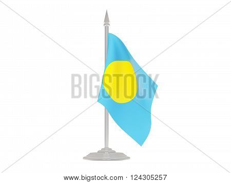 Flag Of Palau With Flagpole. 3D Render