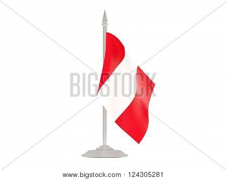 Flag Of Peru With Flagpole. 3D Render
