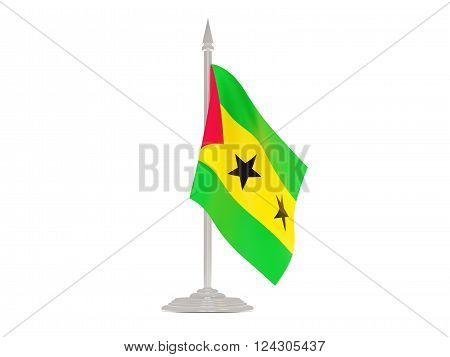 Flag Of Sao Tome And Principe With Flagpole. 3D Render