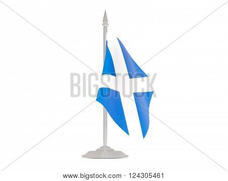 Flag Of Scotland With Flagpole. 3D Render