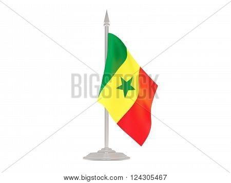 Flag Of Senegal With Flagpole. 3D Render