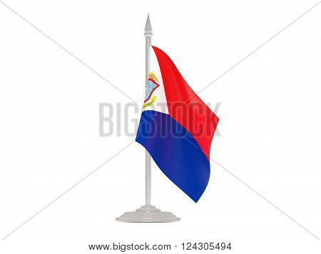 Flag Of Sint Maarten With Flagpole. 3D Render