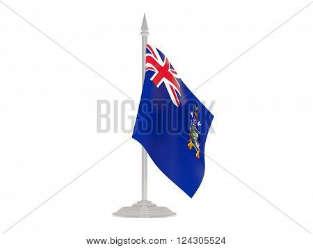 Flag Of South Georgia And The South Sandwich Islands With Flagpole. 3D Render