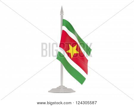 Flag Of Suriname With Flagpole. 3D Render