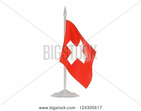 Flag Of Switzerland With Flagpole. 3D Render