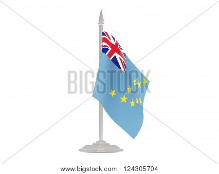 Flag Of Tuvalu With Flagpole. 3D Render