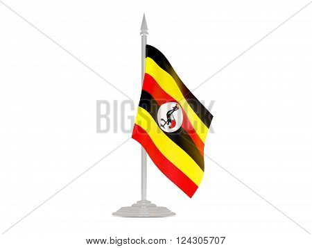 Flag of uganda  with flagpole isolated on white. 3d render