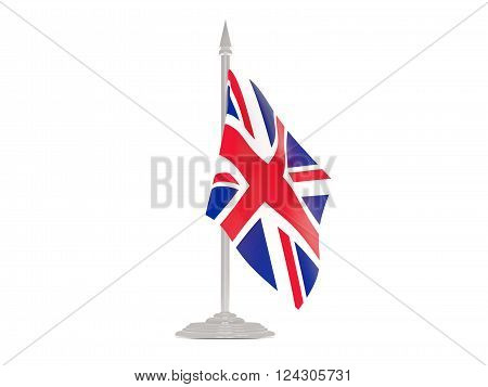 Flag Of United Kingdom With Flagpole. 3D Render