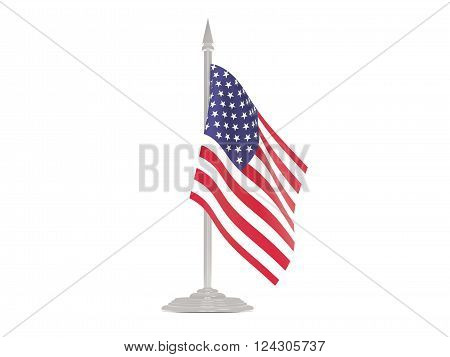 Flag Of United States Of America With Flagpole. 3D Render
