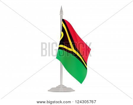 Flag Of Vanuatu With Flagpole. 3D Render