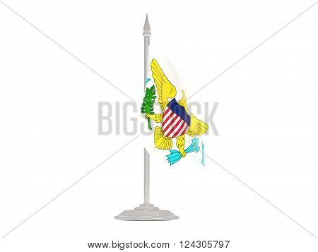 Flag Of Virgin Islands Us With Flagpole. 3D Render