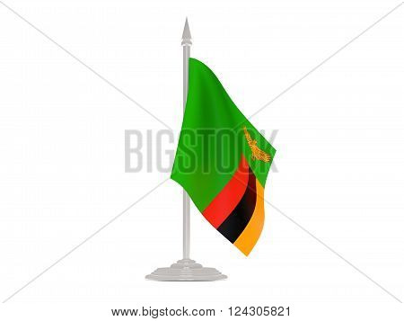 Flag Of Zambia With Flagpole. 3D Render