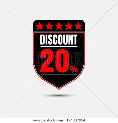 Sale discount labels. Special offer price signs. 20 percent off reduction symbol.
