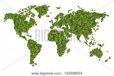 World map from the green grass. Isolated on white