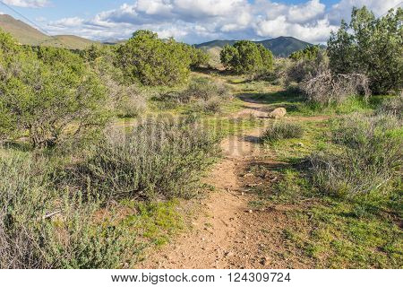 Path leads through the nature wilderness of Vasquez Rocks State Park in southern California.