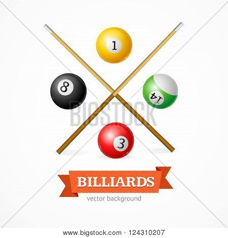 Billiard Balls Concept with Cue. Poster Template. Vector illustration
