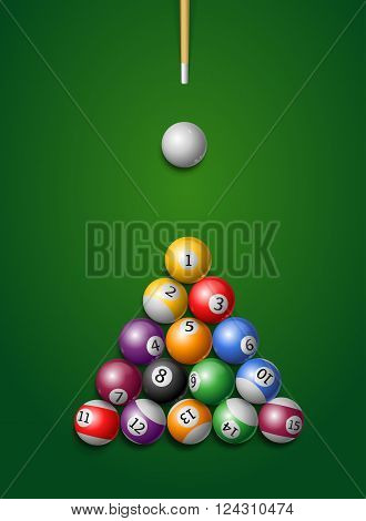 Billiard Balls, Cue in a Pool Table. Vector illustration