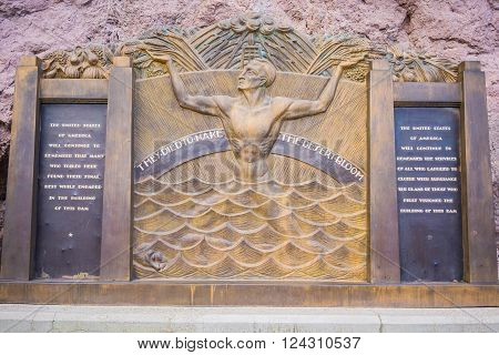 Memorial honoring the deaths of the men who died building the Hoover Dam.