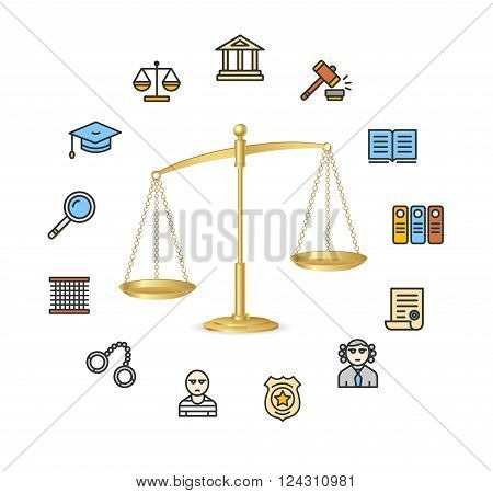Justice Concept with Golden Scales. The Symbol Of Balance. Vector illustration