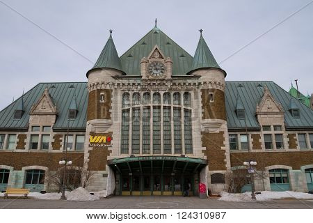 Quebec, Canada - February 03, 2016: View of Gare du Palais, Quebec Central Train Station.  Opened in 1915 and is a Heritage Railway Station.