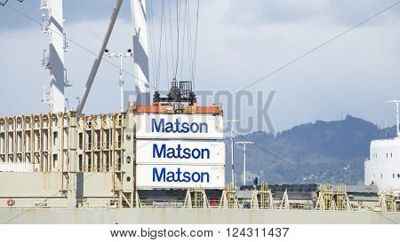 Matson Cargo Ship Kauai Loading At The Port Of Oakland.