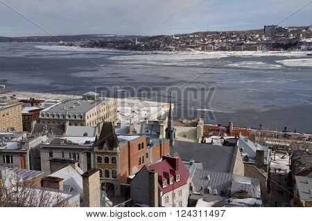 Quebec, Canada - February 03, 2016: Old Quebec city and St. Lawrence river frozen view from above