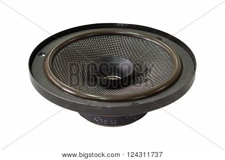 Black old car audio speaker isolated on white background