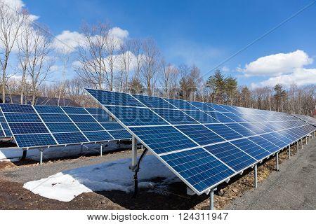 Solar power plant with blue sky
