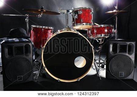 Drum set on a stage