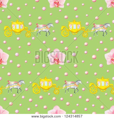 Seamless pattern with watercolor horses, carriages and orchids isolated on green background