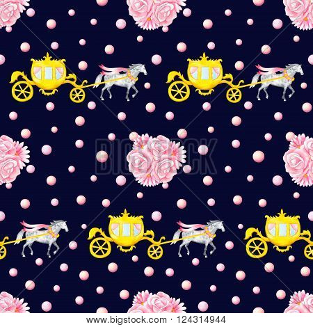 Seamless pattern with watercolor hand drawn horses, carriages and bunches isolated on dark blue background