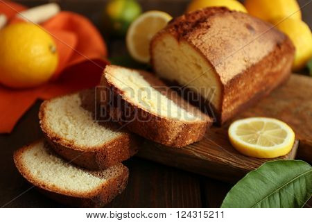 Delicious sweet cake bread with lemons closeup
