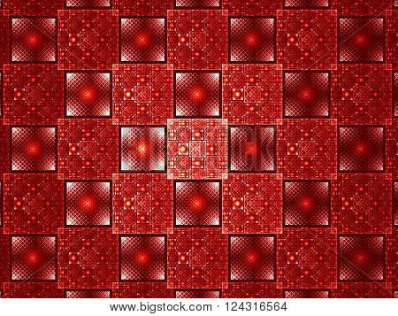 Abstract computer-generated red image. Fractal background with grid, squares and circles. Repeating pattern wor web-design, covers, posters