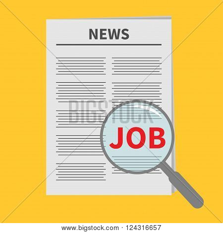 Find job Newspaper icon Optic glass instrument Magnifier Search Flat design Isolated Yellow background Vector illustration