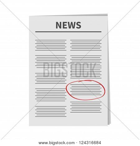 Newspaper icon Red pen skrible mark Flat design Isolated White background Vector illustration