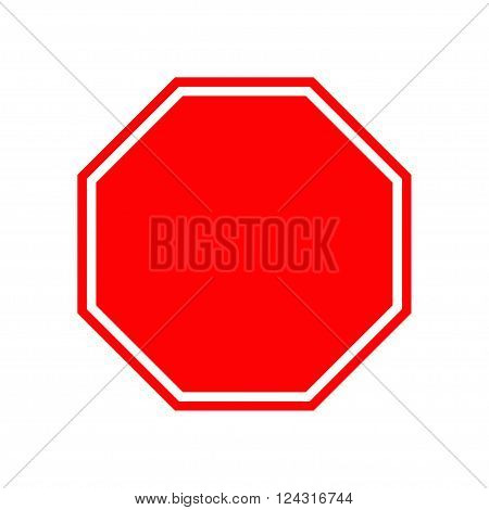 Blank stop traffic warning road sign. Prohibition no symbol. Template Isolated on white background. Flat design Vector illustration