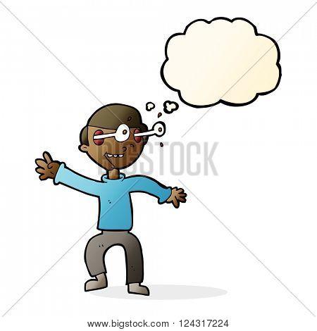 cartoon amazed boy with thought bubble