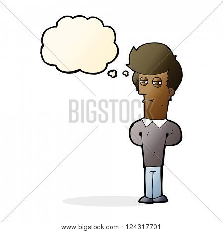 cartoon jaded man with thought bubble