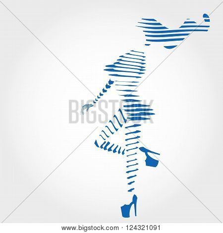 Girl silhouette, line silhouette, woman in high heels