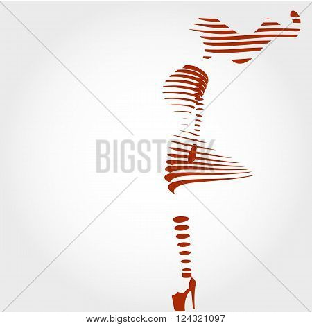 Girl silhouette, abstract silhouette, woman in high heels