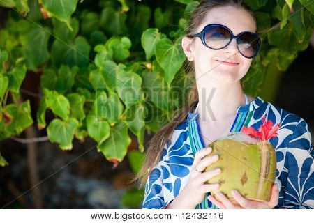 Portrait Of Beautiful With Coconut