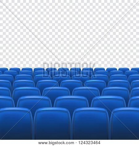 Blue seat in the auditorium on transparent background. Empty cinema auditorium