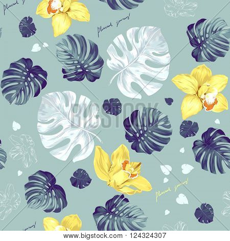Seamless pattern of leaves monstera and blooming orchids